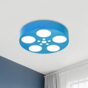 Circular Flush Mount Lamp Fixture Modernism Acrylic Kids Room LED Ceiling Light in Red/Blue/Yellow