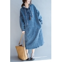 New Arrival Hooded 3/4 Length Sleeve Button Detail Plain Mini Denim Dress