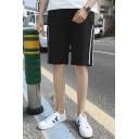 Popular Mens Tape Patched Mid Waist Knee Length Straight Shorts