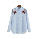 Casual Womens Flower Embroidery Stripe Printed Long Sleeve Spread Collar Button Up Curved Hem Relaxed Shirt Top