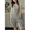 Popular Ladies All Over Print Lettuce Trim Scoop Neck Sleeveless Loose Tank Top & Pocket Shorts Pajama Set in Gray