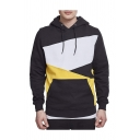 Men's Chic Hoodie Color-block Multicolored Pattern Ribbed Trim Long Sleeve Drawstring Kangaroo Pocket Regular Fit Hoodie