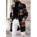 Mens Trench Coat Trendy Plaid Pattern Woolen Button down Mid-Length Notched Lapel Collar Long Sleeve Slim Fit Trench Coat