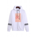 Unique Striped Floral Letter To Be So Lonely Graphic Print Drawstring Long Sleeve Loose Fit Hooded Sweatshirt