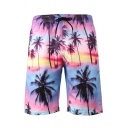 Leisure Mens Shorts 3D Animal Dolphin Ocean Sky Coconut Tree Pattern Drawstring over the Knee Fitted Mid Rise Relax Shorts with Pocket