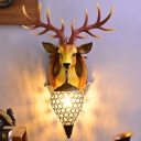 Deer Head Resin Wall Light Fixture Country 1 Light Bedroom Wall Sconce Lighting in Black and White/Black and Brown/White with Teardrop Crystal Shade