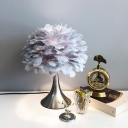 Modernism 1 Light Task Lighting White/Grey Dome Night Table Lamp with Feather Shade for Bedroom