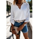 Chic Womens 3/4 Sleeve Stand Collar Relaxed Fit Shirt in White
