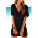 Trendy Ladies Solid Color Short Sleeve Cowl Neck Mini Fitted T-shirt Dress