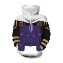 Mens Hooded Sweatshirt Fashionable 3D Belt Pocket Stripe Pattern Color Block Drawstring Long Sleeve Regular Fit Hooded Sweatshirt