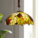Leaf Chandelier Light 3-Bulb Yellow Stained Glass Dining Room Tiffany Suspension Lamp with Bowl Shade