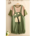 Fancy Girls Overalls Cartoon Cat Pattern Flap Pocket Button Buckle Loose Fitted Short Overalls