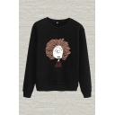 Chic Cartoon Figure Print Round Neck Long Sleeve Regular Fitted Pullover Sweatshirt