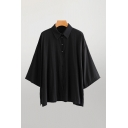 Casual Womens 3/4 Sleeve Point Collar Button Up Oversize Shirt Top in Black
