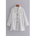 Chic Polka Dot Printed Long Sleeve Spread Collar Button Up Flap Pockets Relaxed Fit Shirt Top in White