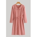 Leisure Ladies Solid Color Long Sleeve Turn Down Collar Button Up Tied Waist Mid A-line Shirt Dress