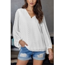 Chevron Applique Blouson Sleeve V-neck Relaxed Fit Chiffon Trendy Blouse Top in White