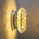 Faceted Crystal Oval Wall Mounted Lamp Contemporary LED Chrome Wall Light Fixture