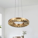 LED Bedroom Ceiling Pendant Modern Gold Suspension Lighting with Circular Clear Crystal Shade in Warm/Natural Light