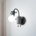 Deerlet Wall Mount Lamp Kids Metallic 1 Bulb Bedroom Wall Lighting Fixture in Grey/White/Green with Open Bulb Design