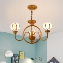 3/5-Light Blossom Hanging Chandelier Baroque Gold Hand Cut Glass Ceiling Suspension Lamp with Swooping Arm