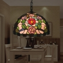Victorian Dome Shade Pendant Light 1 Light Hand Cut Glass Suspension Lighting in Green with Rose Pattern
