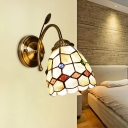 1 Head Corridor Wall Mount Lamp Baroque Gold Wall Lighting Fixture with Tapered Shell Shade