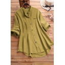 New Stylish Plain Printed Round Neck Long Sleeve Button Down Casual Loose Linen Longline Shirt