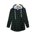 Classic Plaid Printed Button Front Long Sleeve Light Casual Loose Green Drawstring Hoodie