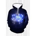 Mens 3D Hooded Sweatshirt Unique Sparkle Constellation Pattern Drawstring Long Sleeve Slim Fit Hooded Sweatshirt