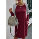 Casual Striped Leopard Printed Color Block Round Neck Long Sleeve Mini Swing T Shirt Dress for Women