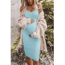 Casual Solid Color Scoop Neck Sleeveless Mini Bodycon Tank Dress for Women