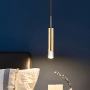 Cylindrical Pendulum Light Simple Style Metal 1 Head Gold Hanging Lamp Kit for Bedside