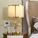 1-Head Night Light Country Bedroom Metal Table Lighting with Cylinder Fabric Shade in Brass
