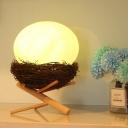 Bird Nest Bedside USB LED Night Light Plastic Modern Novelty Table Lamp with White Egg Lamp Shade