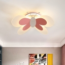 Kids Butterfly Acrylic Ceiling Flush LED Flush Mount Recessed Lighting in Pink for Girl's Room