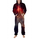 Stylish Womens 3D Jumpsuit Galaxy Milky Way Pattern Pocket Drawstring Zip Full Sleeve Ankle Length Relax Fit Hooded Jumpsuit