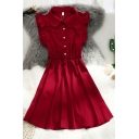 Red Stylish Plain Gathered Waist Pleated Button Front Peter Pan Collar Butterfly Sleeve Short A-Line Dress for Women