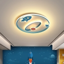 Rocket and Oval Acrylic Ceiling Lamp Contemporary LED Blue Flush Mount Lighting for Bedroom
