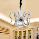 Chrome Heart Chandelier Lamp Modernity LED Faceted Crystal Hanging Light Fixture in Warm/White Light for Dining Room
