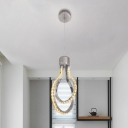 Bulb Cage Crystal Pendant Lamp Contemporary LED Chrome Suspension Lighting Fixture in Warm/White Light