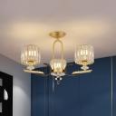 Cylinder Flush Chandelier Lighting Postmodern Prismatic Crystal 3/6-Light Gold Ceiling Lamp for Restaurant