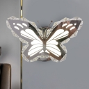 Modernist Butterfly/Fish Sconce Clear Crystal LED Bedroom Wall Mounted Lamp in Stainless-Steel, Warm/White Light