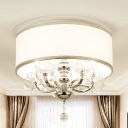 Candelabra Great Room Ceiling Flush Clear Crystal 5 Heads Minimalism Flush Light with Drum Fabric Shade in White