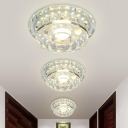 Clear Crystal Circle Flush Lamp Modernism LED Ceiling Mounted Fixture in Multi/3 Color Light