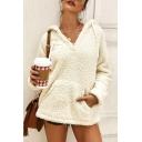 New Fashion Plain Long Sleeve Warm Fluffy Fleece Sweatshirt With Pocket