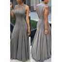 Fashion Scoop Neck Sleeveless Women's Pleated Maxi Dress