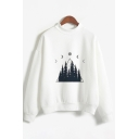Fancy Womens Long Sleeve Crew Neck Moon Forest Printed Relaxed Fit Pullover Sweatshirt