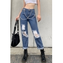 Womens Jeans Creative Distressed Chain Decorated Zipper Fly Loose Fitted Long Straight Jeans with Washing Effect