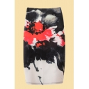 Womens 3D Skirt Casual Flower Painting Spandex Fabric Midi High Rise Pencil Skirt